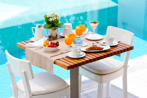 Poolside breakfast vacation